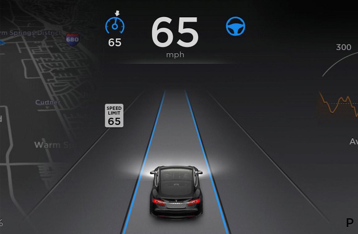Tesla Model S с автопилотом