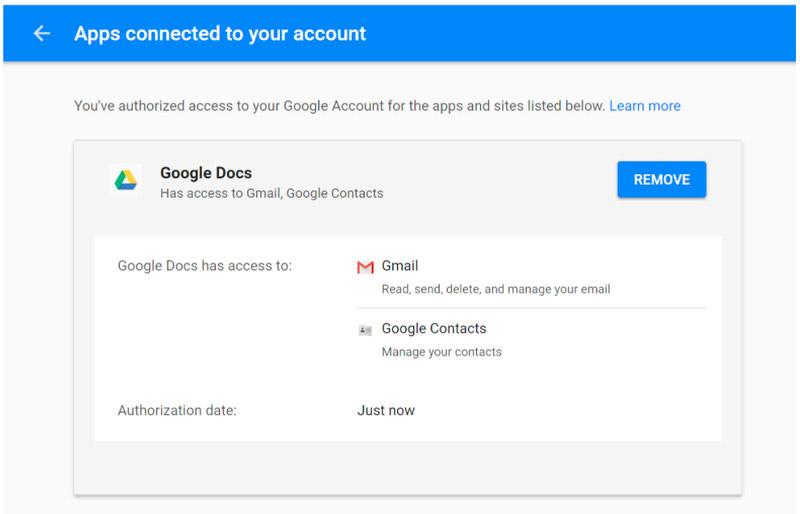 закрыть доступ к Google Docs