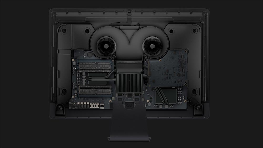 Внутренние компоненты iMac Pro включая процессор Intel