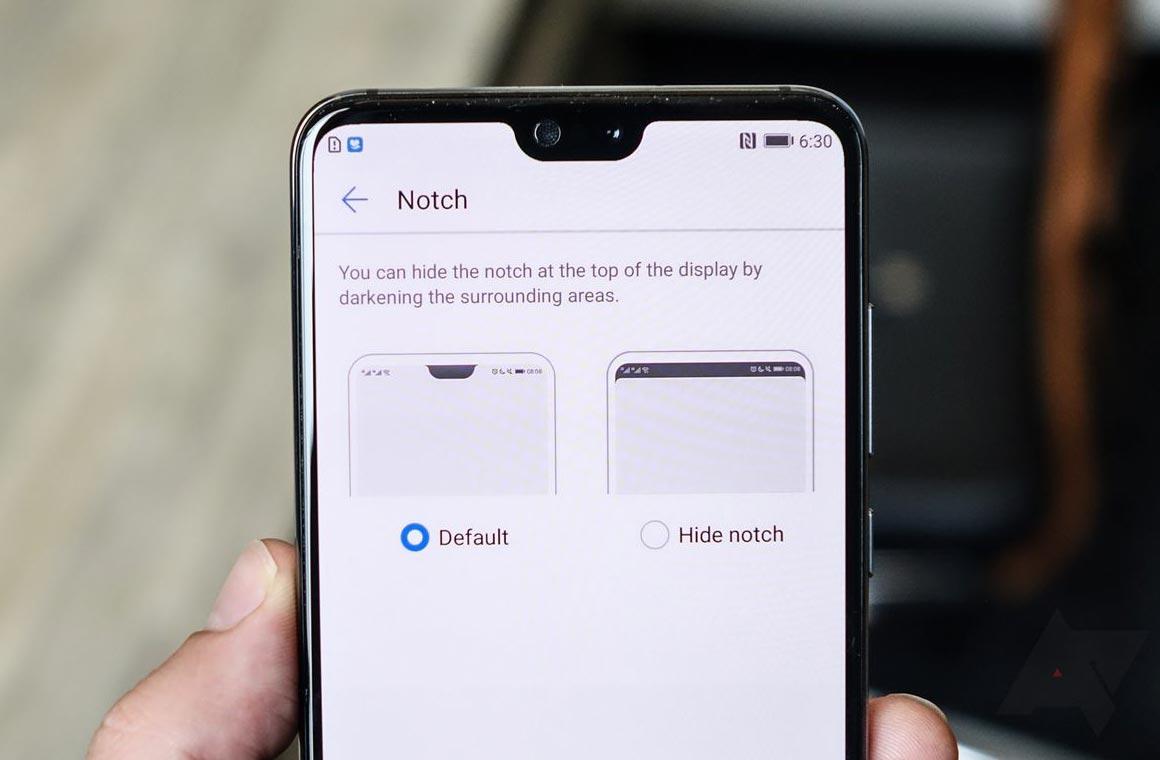 Вырез в экране смартфона Huawei