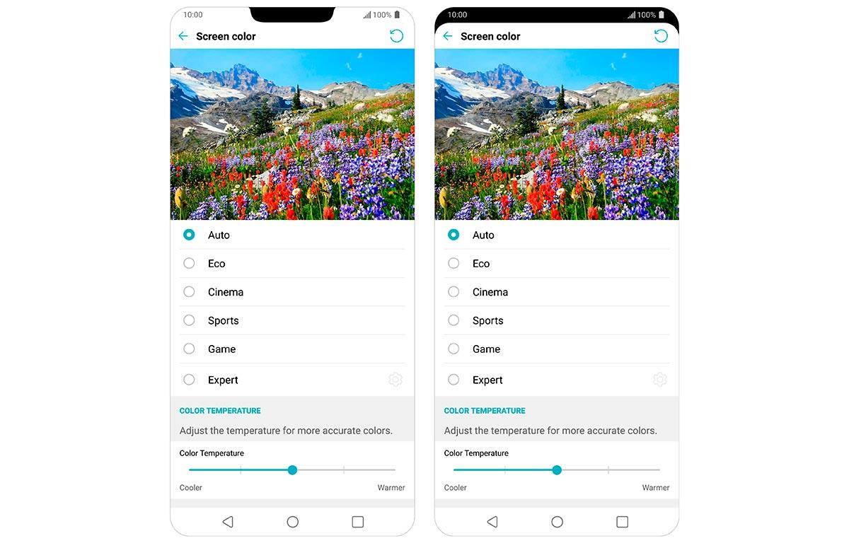 Скриншот настроек дисплея LG G7 ThinQ