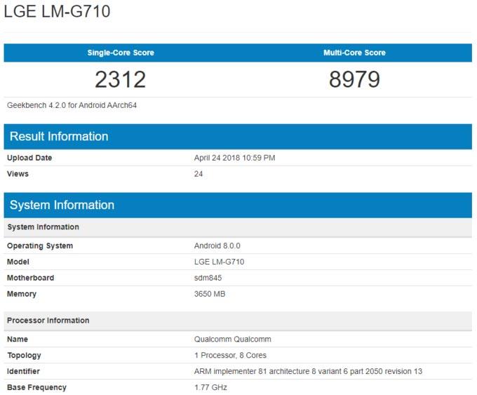 Данные теста LG G7 в Geekbench