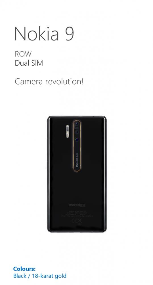 Изображение смартфона Nokia 9 с тройной камерой