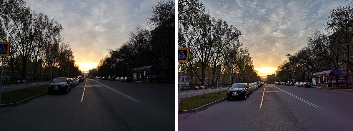 Left without HDR, right with HDR
