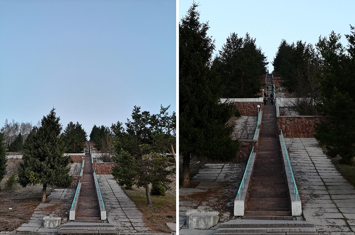 Left photo without magnification, right with 2x optical zoom