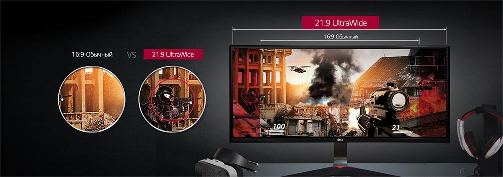 Широкий формат монитора LG UltraWide Curved Gaming Monitor