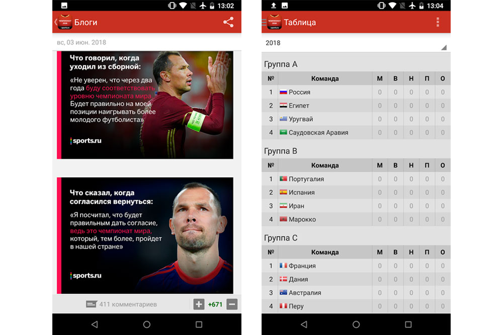 Приложение Чемпионат Мира по футболу 2018 от Sports.ru