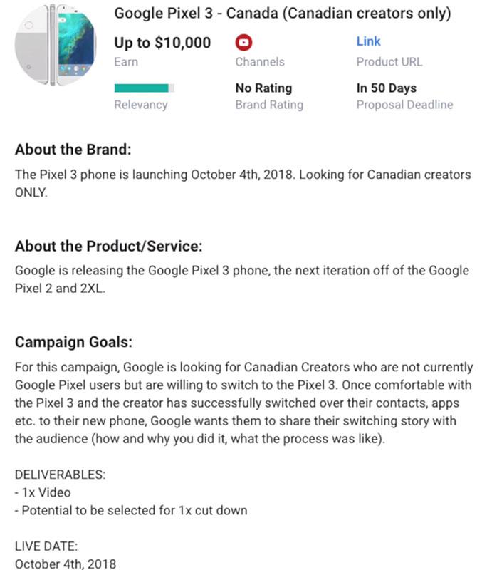 Утечка даты выхода Google Pixel 3