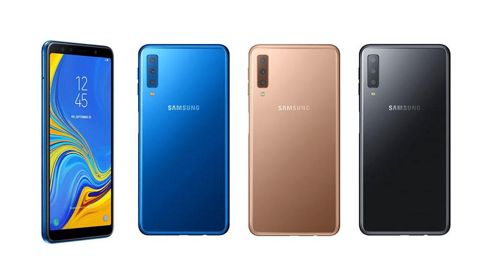 Samsung Galaxy A7 вид спереди и вид сзади