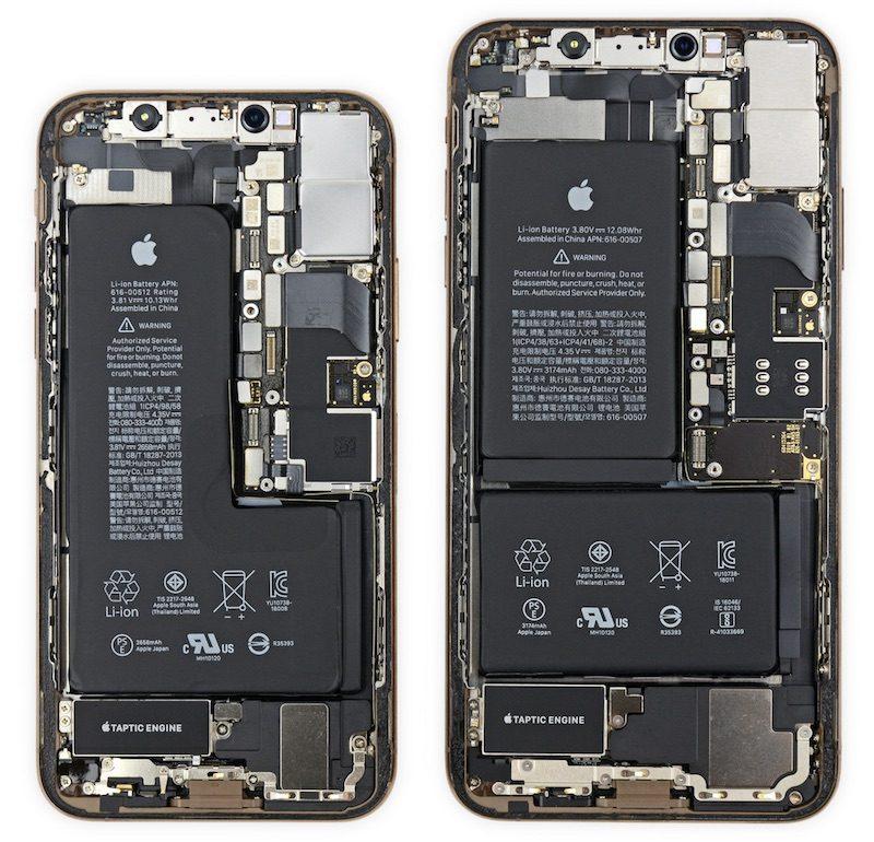 iPhone Xs и iPhone Xs Max в разобранном состоянии