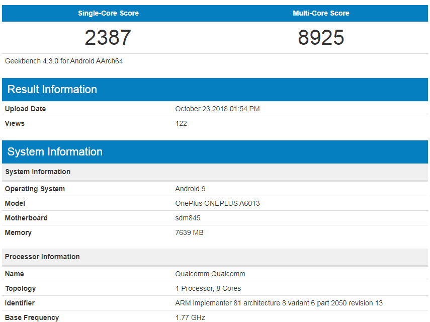 OnePlus 6T результат в Geekbench