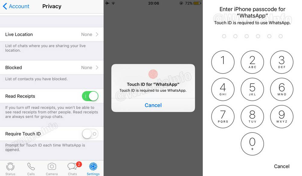 WhatsApp Face ID и Touch ID