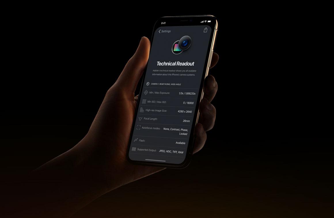 iPhone Xs с приложением Halide