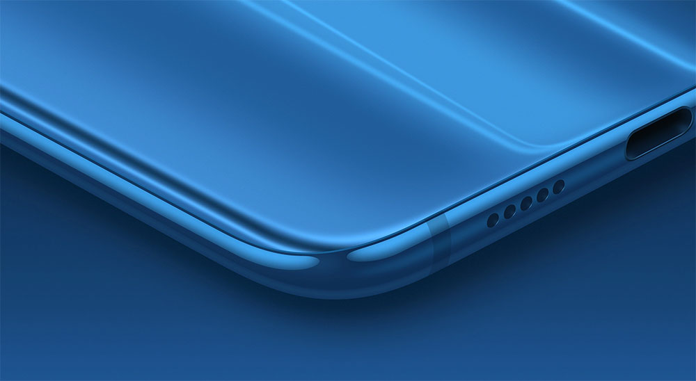 Нижний угол смартфона Xiaomi Mi 8
