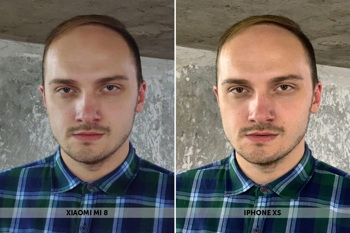 Снимки мужчины на смартфоны Xiaomi Mi 8 и iPhone Xs