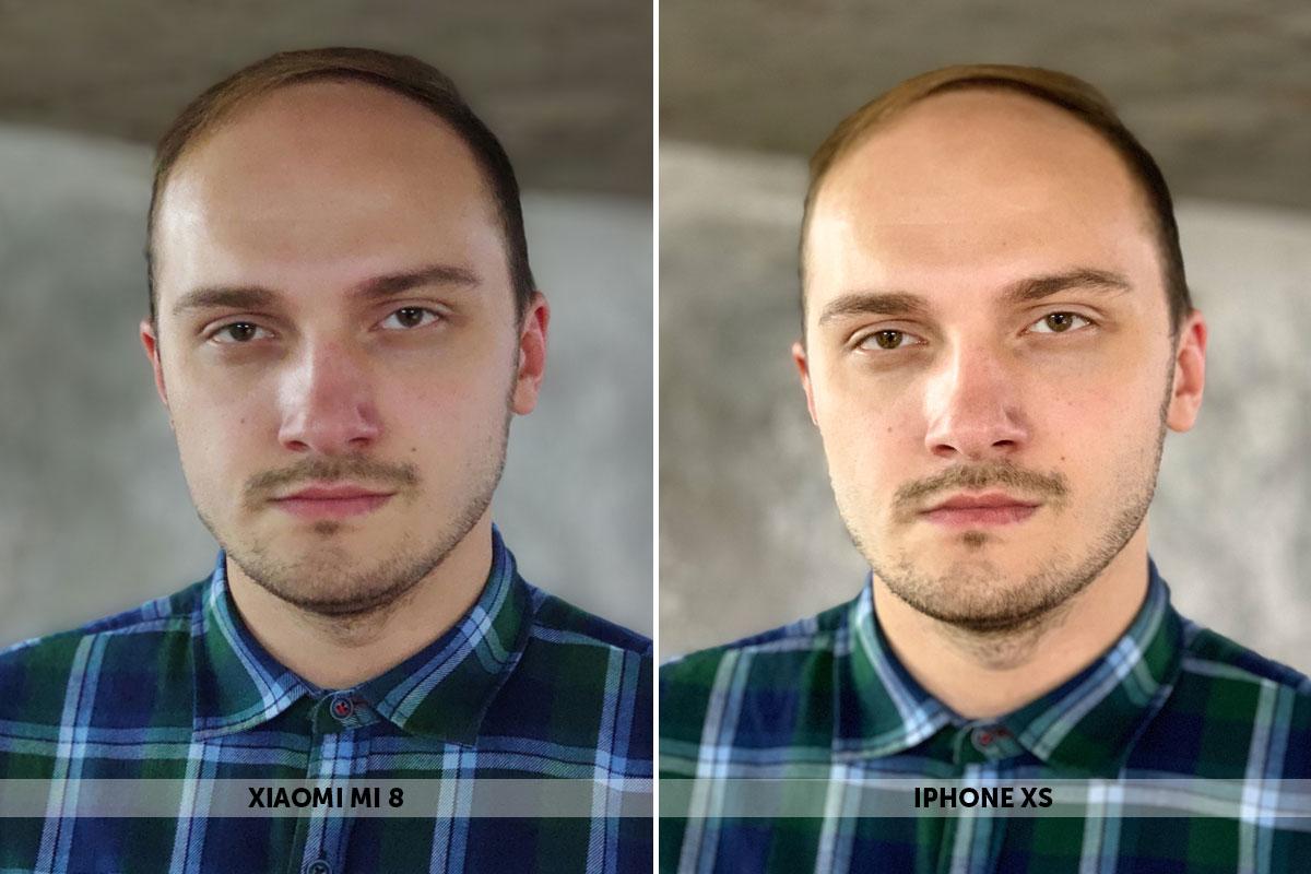 Портрет мужчины на смартфоны Xiaomi Mi 8 и iPhone Xs
