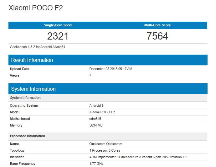 Xiaomi Pocophone F2 показатели в Geekbench