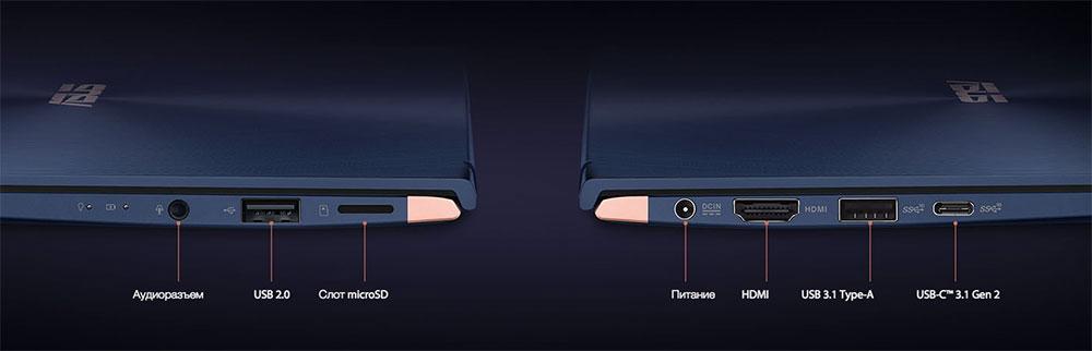 Разъемы Asus ZenBook 14