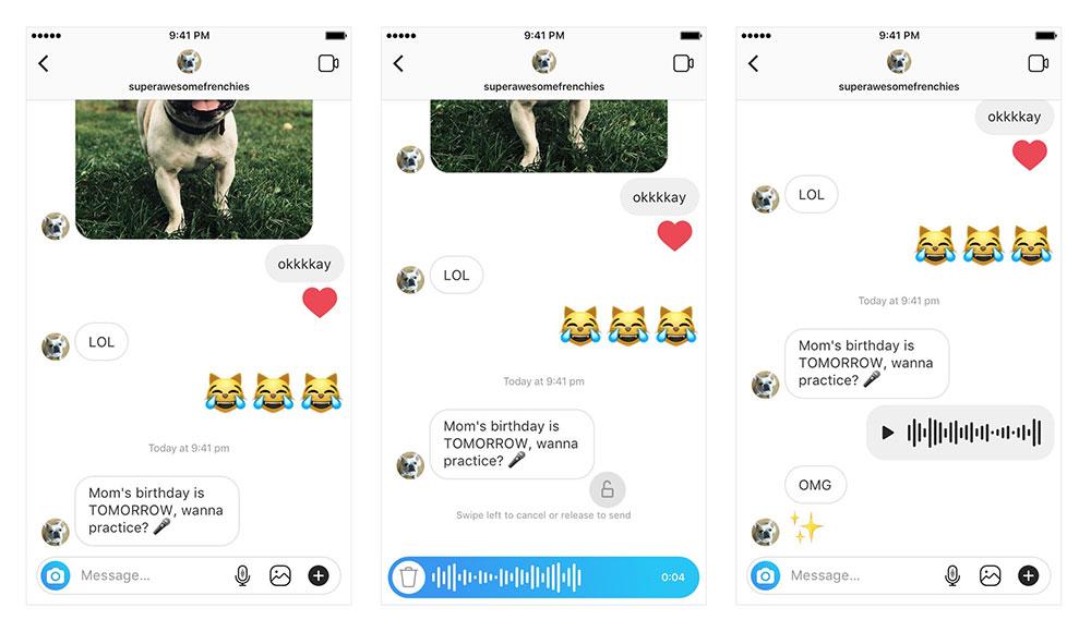Instagram голосовые сообщения