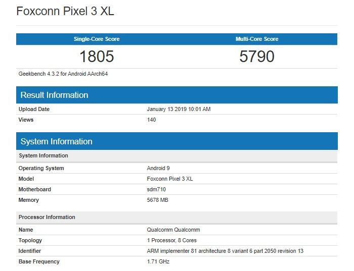 Характеристики Google Pixel 3 Lite XL