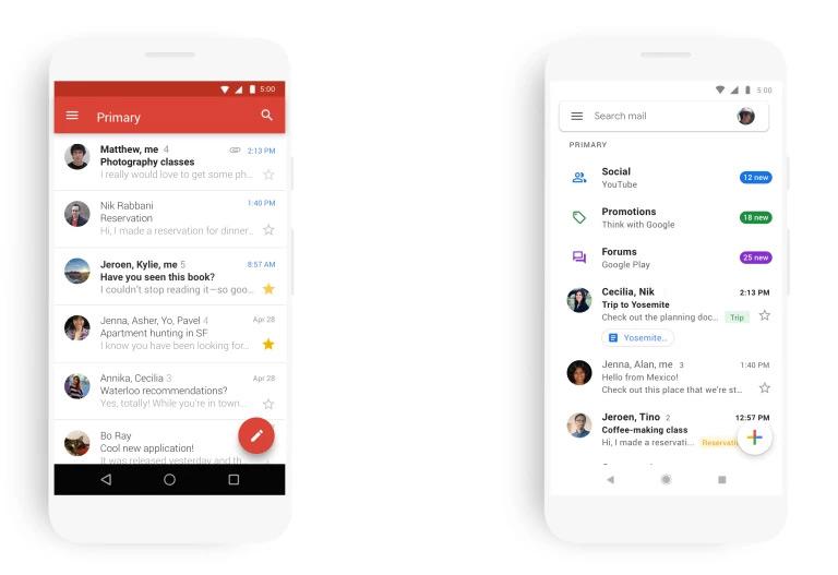 Обновление Gmail в стиле Material Design