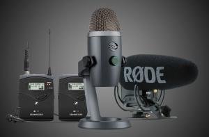 3 разных микрофона на темном фоне