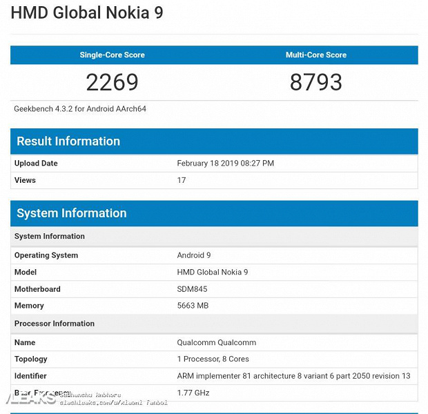 Результаты Nokia 9 PureView в Geekbench
