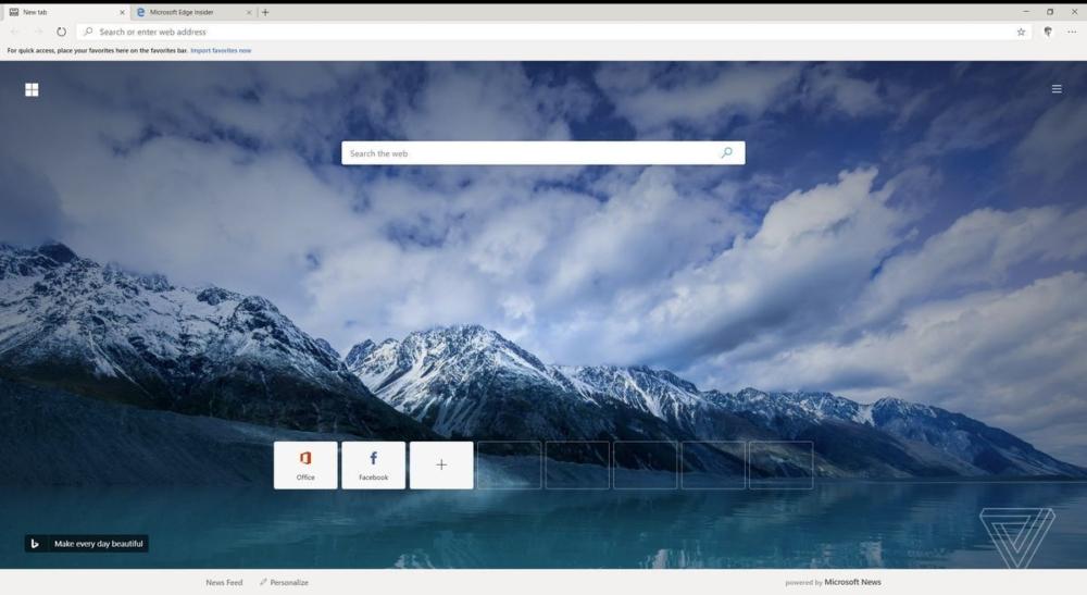 Microsoft Edge скриншот главной страницы