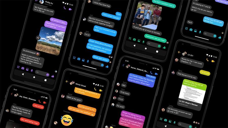 Пример темной темы в Facebook Messenger