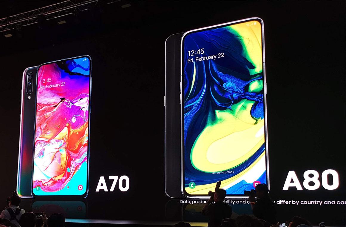 Изображения Galaxy A70 и A80 на презентации