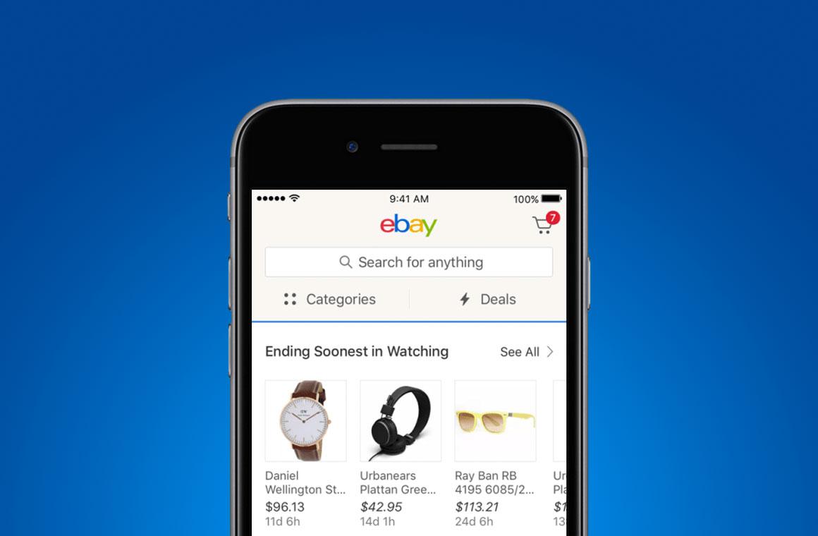 Приложение eBay на смартфоне
