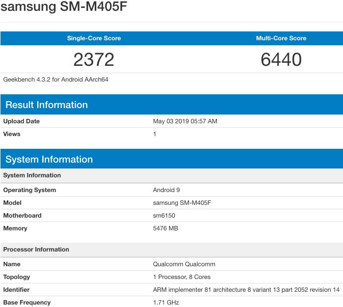 Результаты тестов Samsung Galaxy M40