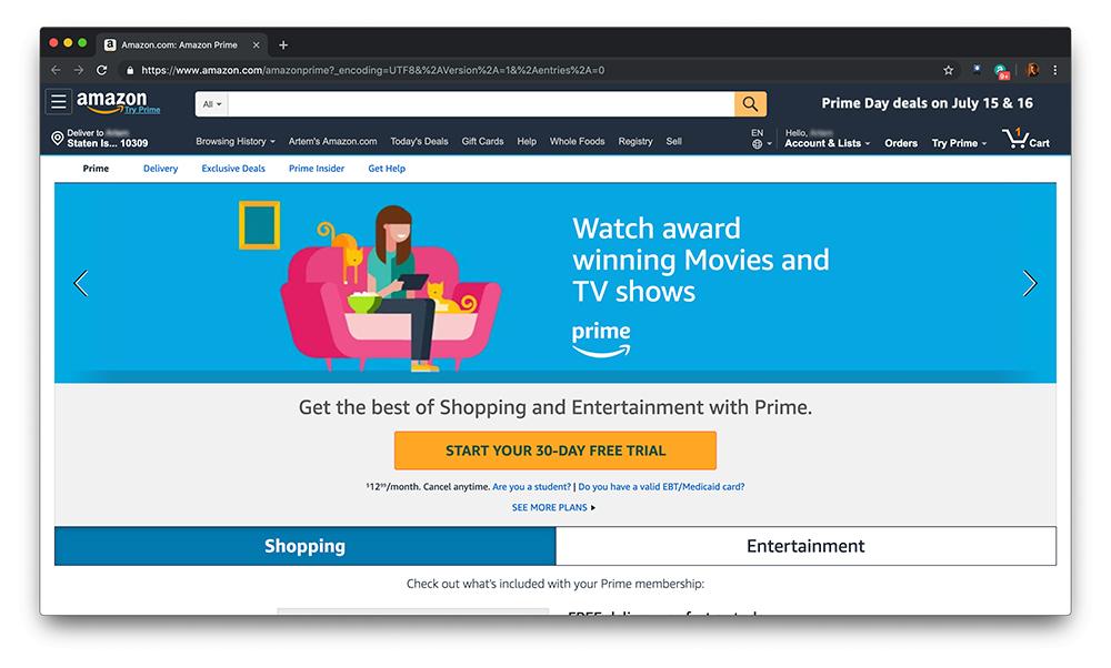 Скриншот о телевидении Amazon Prime