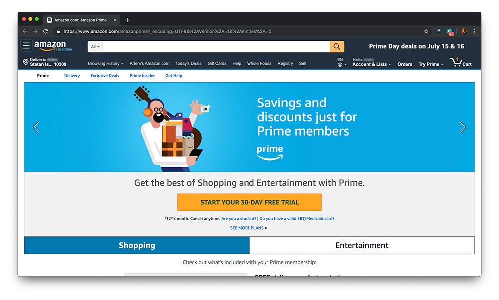 Скриншот о скидках Amazon Prime
