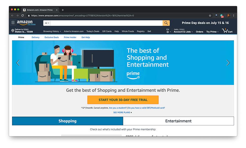 Скриншот о шоппинге и развлечениях Amazon Prime