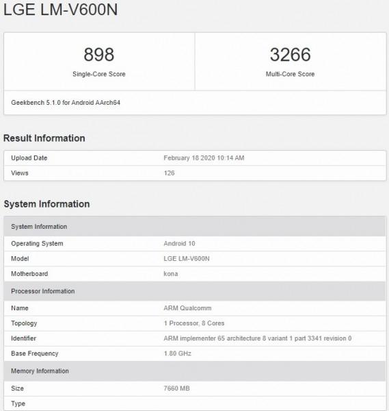 LG V60 ThinQ 5G в GeekBench
