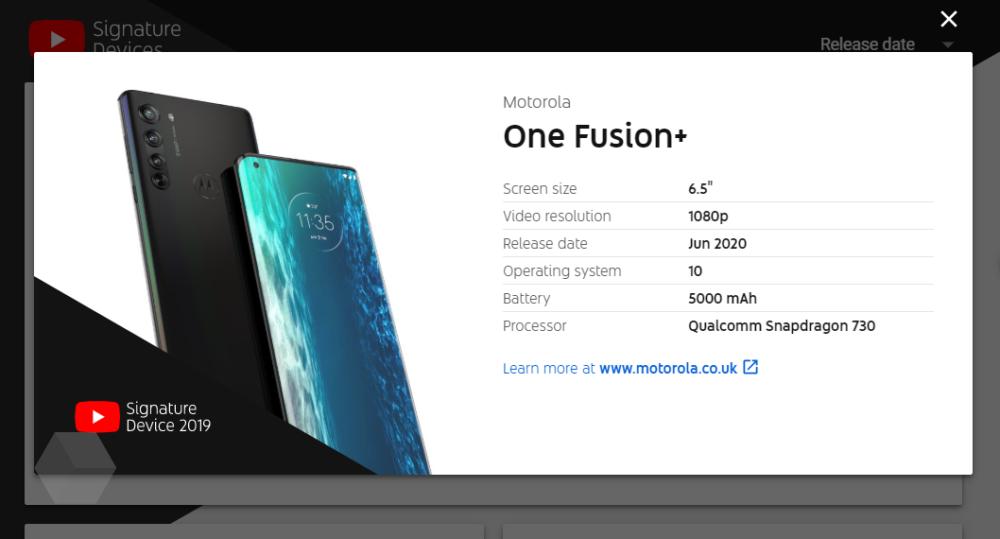 motorola one fusion+ specs
