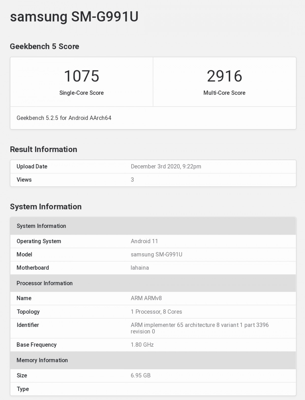 Samsung Galaxy S21 GeekBench